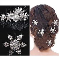 S&E Per donna 5Pcs congelata da sposa da sposa Diamante fiocco di neve perni di capelli clip di capelli di cristallo del bastone