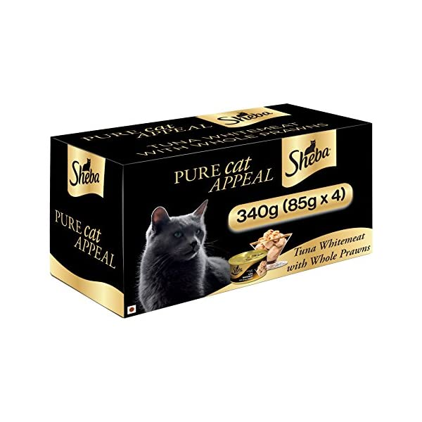 Sheba Deluxe Premium Wet Cat Food, Tuna Fillet & Whole Prawns in Gravy, 4 Cans (4 x 85g)