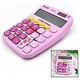 Xrten Cartone Animato Carino Calcolatrice,Calcolatrice solare Funzione Standard con Display 12 Cifre Grandi(Rosa)