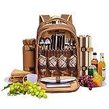 DDDD store Luxus 4 Personen Picknick Rucksack Hamper Rucksack, Besteck inklusive und Kühlerfach