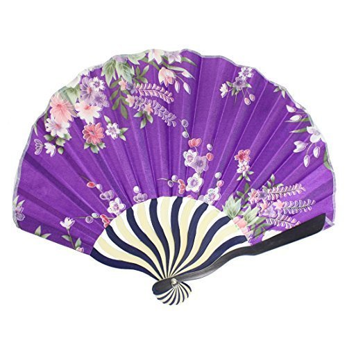 sourcingmapr-imprime-fleurs-nylon-curve-motif-eventail-pliant-violet