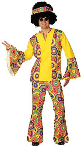 O7329-52-54 Herren Hippie Kostüm Anzug Gr.52-54 (Herren Sonnigen Hippie Kostüm)