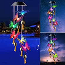 zhengshizuo Colorful Butterfly Wind Chimes Night Light String Fairy Light Outdoor Indoor Garden Decor Mom Birthday Gift Solar LED Color Changing Party Decor
