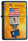 LEotiE SINCE 2004 Feuerzeug Schwarz Benzinfeuerzeug Sturmfeuerzeug Metallfeuerzeug Vogelhäuschen Willkommensspruch USA Flagge