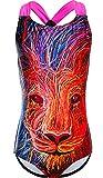 DUSISHIDAN Einteiliger Bikini Badeanzüge für Mädchen bademode Niedlicher Cartoon, UV-Schutz Farbiger Löwe S