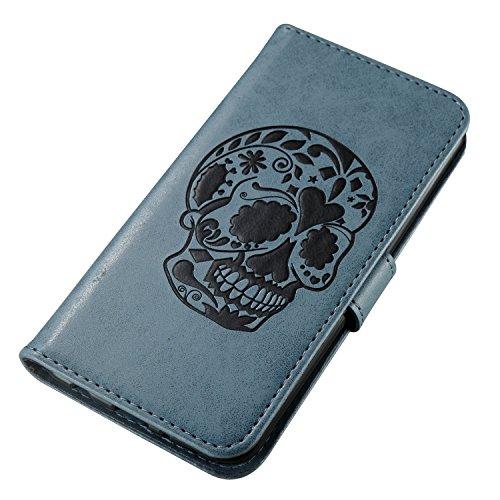 Coque iPhone 8,Marron 3D Crâne noir Portefeuille Fermoir Magnétique Supporter Flip Téléphone Protection Housse Case Étui Pour Apple iPhone 8 + Deux cadeau blue