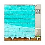 Amody 3D Digitale Drucken Wand Badezimmervorhang waschbar Anti-Mehltau Wasser-sicherer Duschvorhang Blau Größe 90x180CM