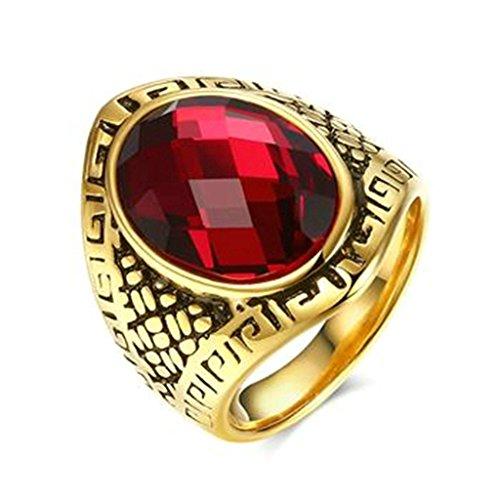 KnSam Hombre Chapado en Oro Bandas de Boda Rhombus Anillo de Ajuste de Confort Ronda Rojo Cristal Diamantes de Imitación Tamaño 22