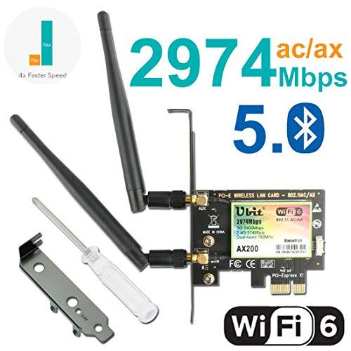 Ubit Scheda WiFi Gigabit, 802.11 AX/AC Superspeed 2974 Mbps, Wi-Fi 6 AX200, Scheda di Rete Wireless Dual-Band PCIe (5GHz / 2.4GHz), Adattatore PCI-E Bluetooth 5.0 con Antenna 2 x 6dBi per PC
