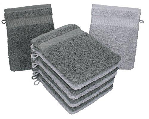 BETZ Lot de 10 Gants de Toilette Taille 16x21 cm 100% Coton Premium Couleur Gris argenté, Gris Anthracite