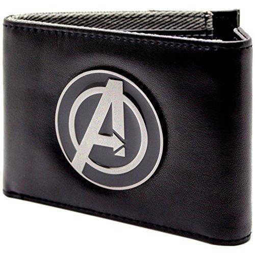 Marvel Avengers Assemble silbernes Abzeichen Schwarz Portemonnaie Geldbörse