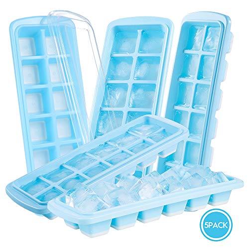 Jelife Eiswürfelform mit Deckel Silikon, 5 Stück Eiswürfelschalen, Eiswuerfelbehaelter BPA Frei, Ice Cube Tray 12-Fach, LFGB Zertifiziert