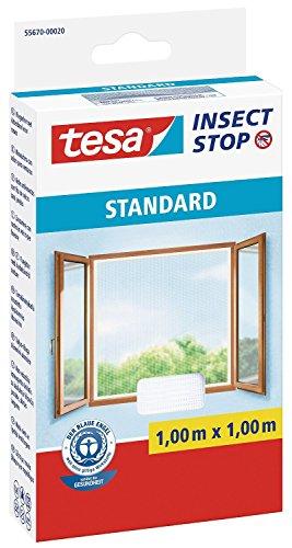 Tesa - zanzariera per finestre, qualità standard, confezione risparmio da 4 pezzi, 1 m x 1 m, colore: bianco