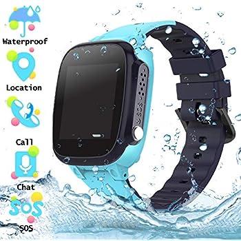 Reloj Inteligente para Niños a Prueba de Agua IP67, Teléfono Smartwatch LBS localizador SOS Alarma por Chat de Voz Cámara, Regalo para Niño Niña Reloj ...