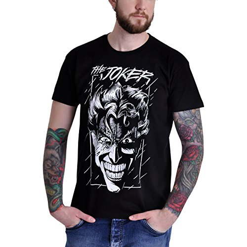 Elbenwald Batman Camiseta Mal Joker Estilo cómico Negro de algodón XXL