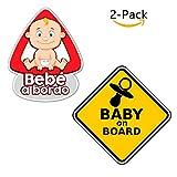 Paquete de 2 Pegatinas Bebe para el Coche - Bebe a bordo, Baby on Board