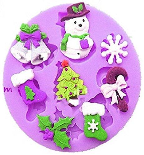 Stampo in silicone con calchi di 8 accessori natalizi quali albero di natale, 2 campane, 2 calze, ghirlanda, bonbon, pupazzo di neve, fiocco di neve di diversi spessori. per pasta di zucchero, fondenti, etc per uso alimentare fai da te diy.cat: feste natalizie alberi campane ghirlande calze fiocchi