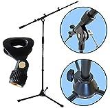 KEEPDRUM MS106BK Mikrofonständer Mikrofonstativ mit Galgen u. Metall-Sockel + universal Mikrofonklemme