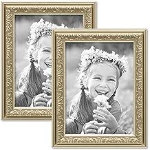 Set de 2 marcos en tono plata antigua de estilo nostálgico, marco para fotos de 15x20 cm con cristal / Marco de plástico