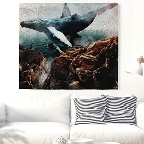 CHSUNHEY Tapiz Large Blue Flying Whale in Sky Print Tapestry Beautiful Sea Animal Mountain Wall Art Wall Hanging Man by The Sea Landscape Wall Decor Wall Blanket Mandala Boho Beach Throw Curtain Whi