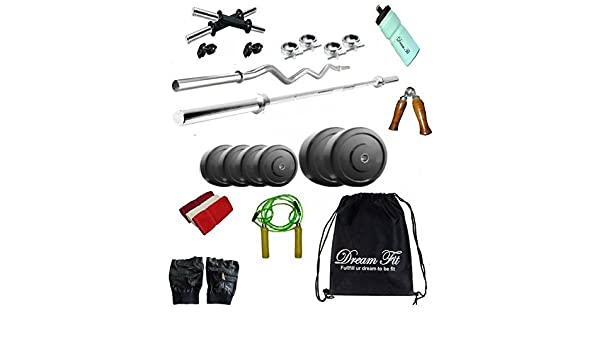 6fe7b15eec DREAMFIT 20 KG Rubber Plates Home Gym with 4 RODS (1X5ft