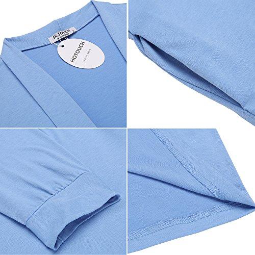 HOTOUCH Damen Morgenmantel Bademantel Nachtwäsche Kimono Saunamantel Mit Tiefer V-Ausschnitt Schlafanzug Aus Baumwolle Typ1-Himmel Blau