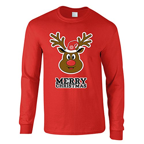 The T-Shirt Factory Herren-Weihnachtspullover Reindeer Merry Christmas (XL) (Rot)