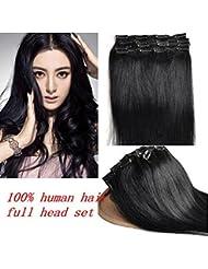 Meilleure Qualité! 24''(60cm) Extensions de Cheveux à clips 100% Remy Brésilienne Vierge de Cheveux Humains 120g Couleur:noir#1