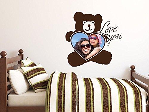 Preisvergleich Produktbild Wandtattoo Bilderrahmen Aufkleber für Kinderzimmer Spruch Love you Herz Teddy (58x57cm // 958 baby doll)