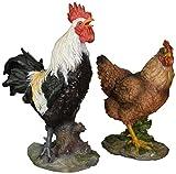 Design Toscano Henrietta, die Henne und Kikeriki, der Hahn, Figurenset