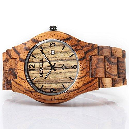 51aR%2BnxMzbL - Alienwork Reloj Unisex Relojes Hombre Mujer Madera Zebrano marrón Analógicos Cuarzo Calendario Fecha Impermeable Madera Natural