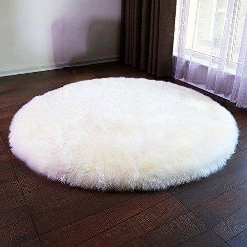 Luxus Raum Weiches Kunstfell-Stuhl Bezug Sitz Kissen Pad Plüsch Schlafzimmer Teppich Matte, weiß, Round 24in*24in