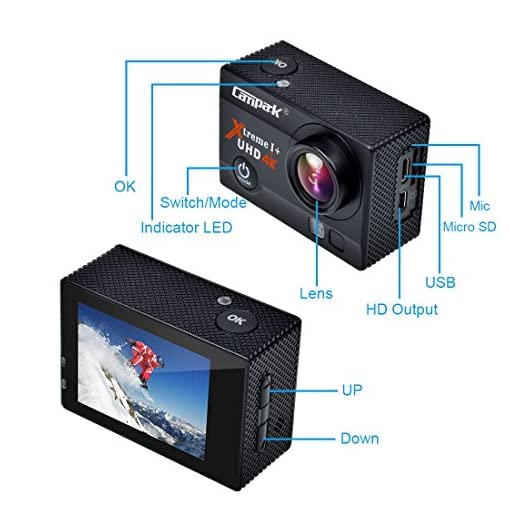 Action Cam, Campark 4K Action Camera 16MP Ultra HD WIFI Impermeabile Sport Camera 170° Grandangolare con due Batterie e Kit Accessori con Pacchetto Portatile
