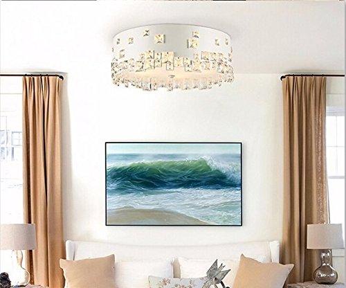 Gowe fer rond Lustre en cristal éclairage LED Lampes pour séjour salle à manger lampe à suspension éclairage Intérieur Blanc Diamètre 32 cm