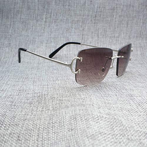 LKVNHP Vintage Randlose Eckige Sonnenbrille Herren Accessoires Oculos Shade Für Den Sommer Outdoor Metallrahmen Brillen Zum StrandfahrenSilber F Grau Braun