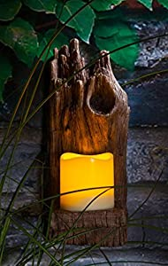 Noma Garden Art : Fit & Forget : LED Garden Wall Light : Woodland Wall Sconce with LED Candle by Noma Garden Art
