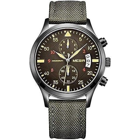 vear uomini sport orologi al quarzo cronografo calendario auto data cinturino in nylon verde militare