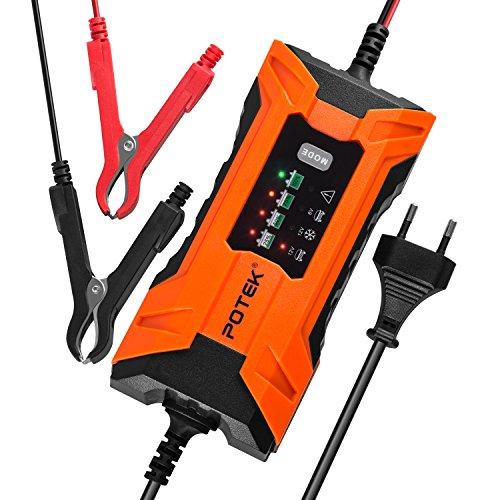 POTEK 2A Batterie Ladegerät 6V/12V, Batterieladegerät Erhaltungsladegerät 5 Schritt Vollautomatisches Kraftpaket Batterieladegerät für KFZ PKW Auto Motorrad (Automatisches 12 Volt Batterie-ladegerät)