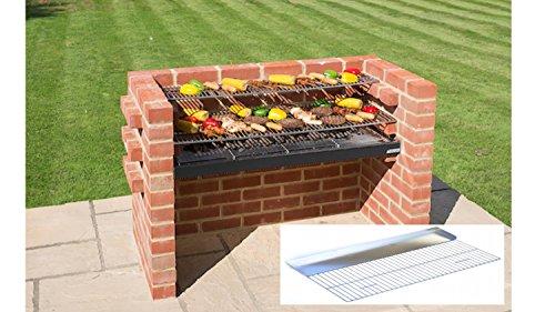 b801g schwarz Knight Brick Grill-Set mit Ember Guard + Grillpfanne Grill