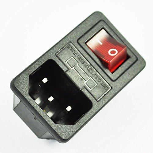 SODIAL(R) Enchufe de Corriente Entrada Macho con Interruptor Fusible 1