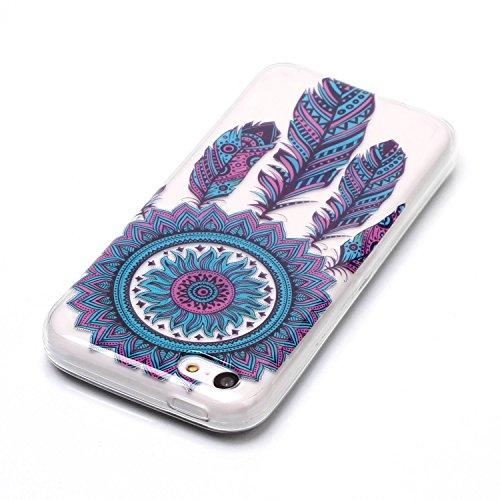 Custodia iphone 5C - Cover iphone 5C - Cozy Hut Case per iphone 5C [Ultra-Thin] Air Skin [Soft Clear] Premium Semi-transparent Super Lightweight, Custodia per iphone 5C - Cranio nero fiore Carillon blu