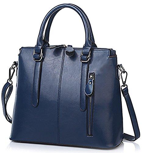 Oruil Frau italienisches weiches Leder Doppel Zip Handtaschen Damen Designer blaues Leder Handtaschen Schultertasche Tote Bag(Blau) (Zip Top Umhängetasche Leder)