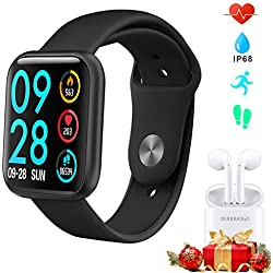 Smartwatch Uomo Donna + Auricolare Bluetooth Vendi insieme, Orologio Fitness Tracker Impermeabile IP68 Cardiofrequenzimetro e Contapassi e Calorie da Polso, Orologio Sportivo Activity