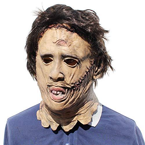 FLTVSN Halloween-Maske Massaker Leatherface Masken Scary Cosplay Halloween Kostüm Requisiten Hochwertige Spielzeug Party Latex - Scary Für Erwachsene Leatherface Kostüm