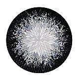 Badvorleger Teppich Runder Teppich Schwarz-weißer Teppich (Color : Gray, Size : Diameter 90cm (35inch))