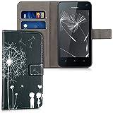 kwmobile Funda para Huawei Y625 - Wallet Case plegable de cuero sintético - Cover con tapa tarjetero y soporte Diseño Amor y diente de león en blanco negro