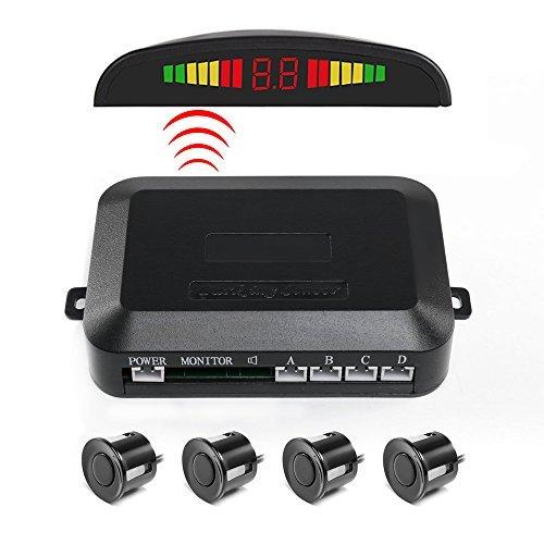 Sensore di parcheggio, funanasun 2.4g wireless car vehicle reverse backup radar sistema auto posteriore di allarme display a led con 4sensori di allarme/buzzer