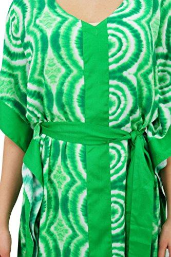 Bimba les femmes à long kimono concepteur maxi caftan caftan plage avec ceinture Vert