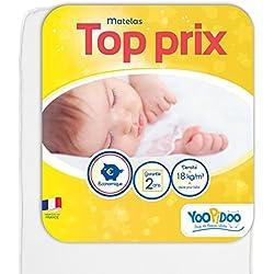 Yoopidoo - Matelas Bébé - 70x140 cm - Confortable - Sans Traitement chimique - Oeko Tex® - Fabrication Française