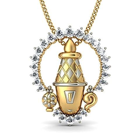 14K Or jaune 0,46CT TW Round-cut-diamond (IJ | SI) Pendentif